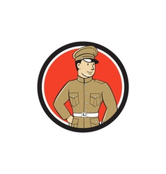 World War One British Officer Standing Circle vector