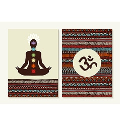 Yoga concept set boho background and chakra icons vector