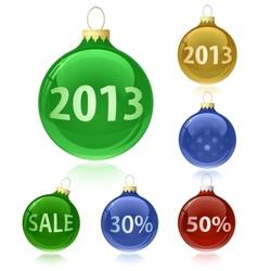 Christmas balls with sale tags - 2013 vector image vector image