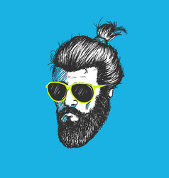 head of modern hipster vector image