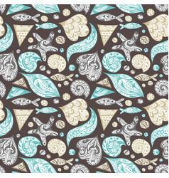 ornamental sea pattern vector image vector image