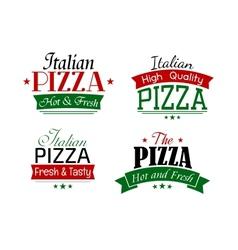 Various italian pizza labels set vector image