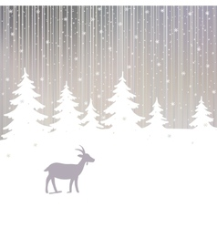 Winter Forest and Goat New Year Background vector image vector image