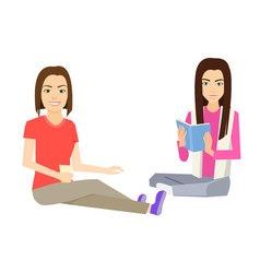 Woman sitting on floor vector image vector image