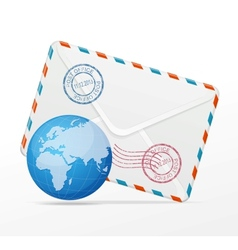 detailed envelope and globe vector image