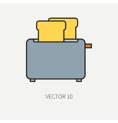 Line flat color kitchenware icons - toaster vector image vector image