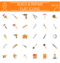 build and repair flat icon set vector image vector image