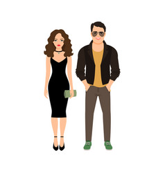 fashionable couple isolated icon vector image