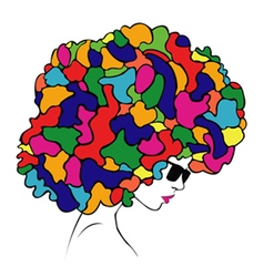 abstract colorful hair - vector image vector image