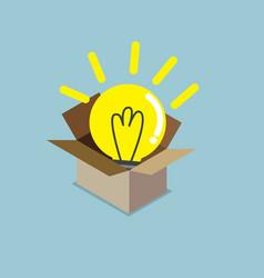 abstract light bulb idea in box vector image