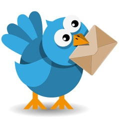 blue bird with a paper envelope vector image vector image