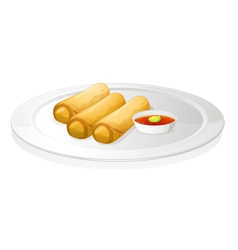 Bread roll and sauce vector image