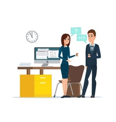 Girl and man businessmen talking office Job vector image