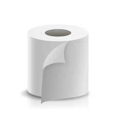 realistic paper roll template blank white vector image vector image