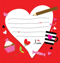 valentine sent you with love paper heart cute cart vector image vector image
