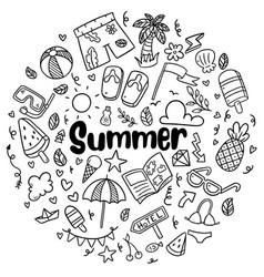 010 hand drawn summer beach doodles isolated vector