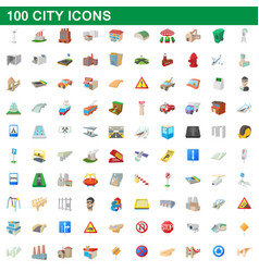 100 city icons set cartoon style vector