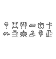 12 set linear motorway icons thin outline vector