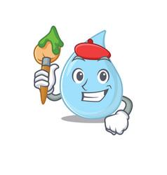 A creative raindrop artist mascot design style vector