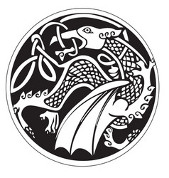 A druidic astronomical symbol of a dragon vector