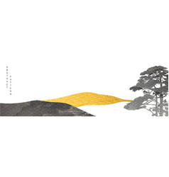Abstract landscape art with gold and black vector
