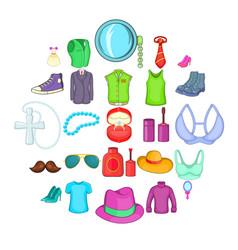 Adornment icons set cartoon style vector