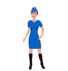 air hostess isolated on white vector image