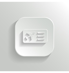 Airplane ticket icon - white app button vector image