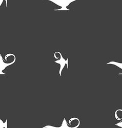 Alladin lamp genie sign Seamless pattern on a gray vector image