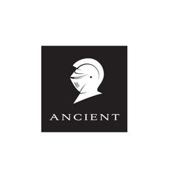 ancient knight templar warrior armor helmet logo vector image