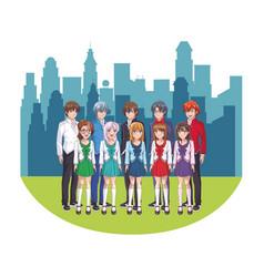 Anime manga group vector