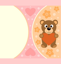 Background card with funny bear cartoon vector