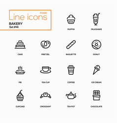 Bakery concept - line design icons set vector