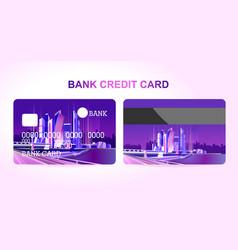Bank card night city vector