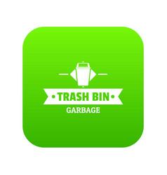 Bin household icon green vector
