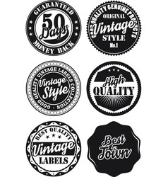 Black and white vintage labels collection 5 vector