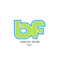 Blue green alphabet letter bf b f logo icon design vector