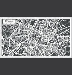 Brussels city map in retro style outline map vector