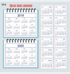 business american spiral desk calendar year 2019 vector image