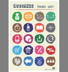 Business web icons set drawn by chalk vector image