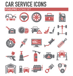 Car service icons set on white background for vector