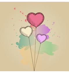 Card with hand-drawn heart-shaped balloons vector