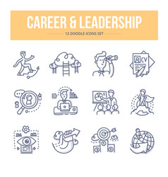 career leadership doodle icons vector image