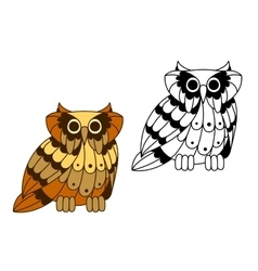 Cartoon isolated owl bird character vector image