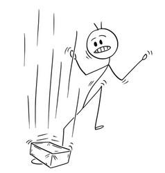 Cartoon of man or businessman to whom brick vector