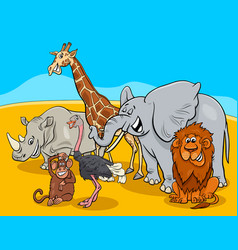 cartoon safari animal characters group vector image