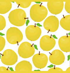 cartoon seamless pattern with yellow apples vector image