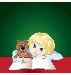 Child reads a book vector
