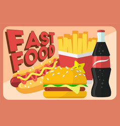 Colorful fast food retro banner fast food vector