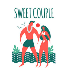 couple on a beach man and girl sea vacation vector image
